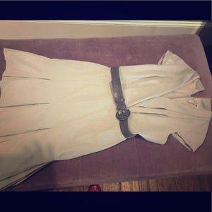 Gray Pleated Work Dress